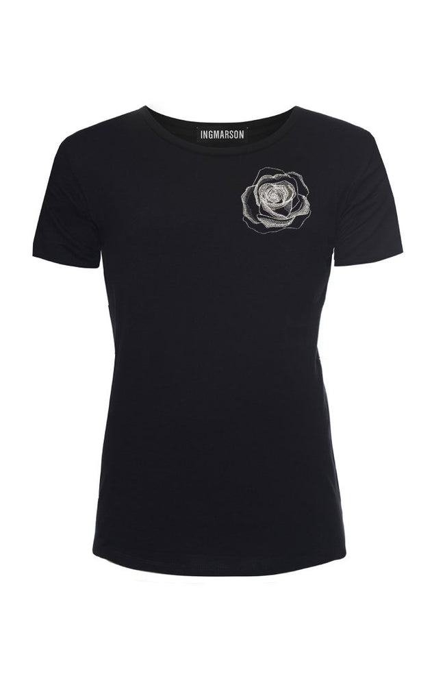 Rose Embroidered T-Shirt Black