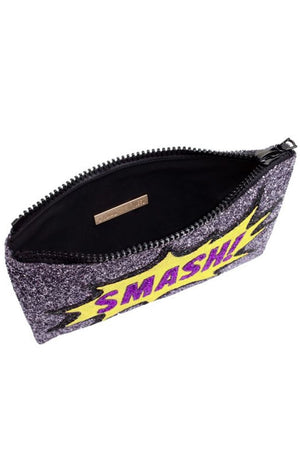 Smash Glitter Clutch Bag - I KNOW THE QUEEN at The Bias Cut