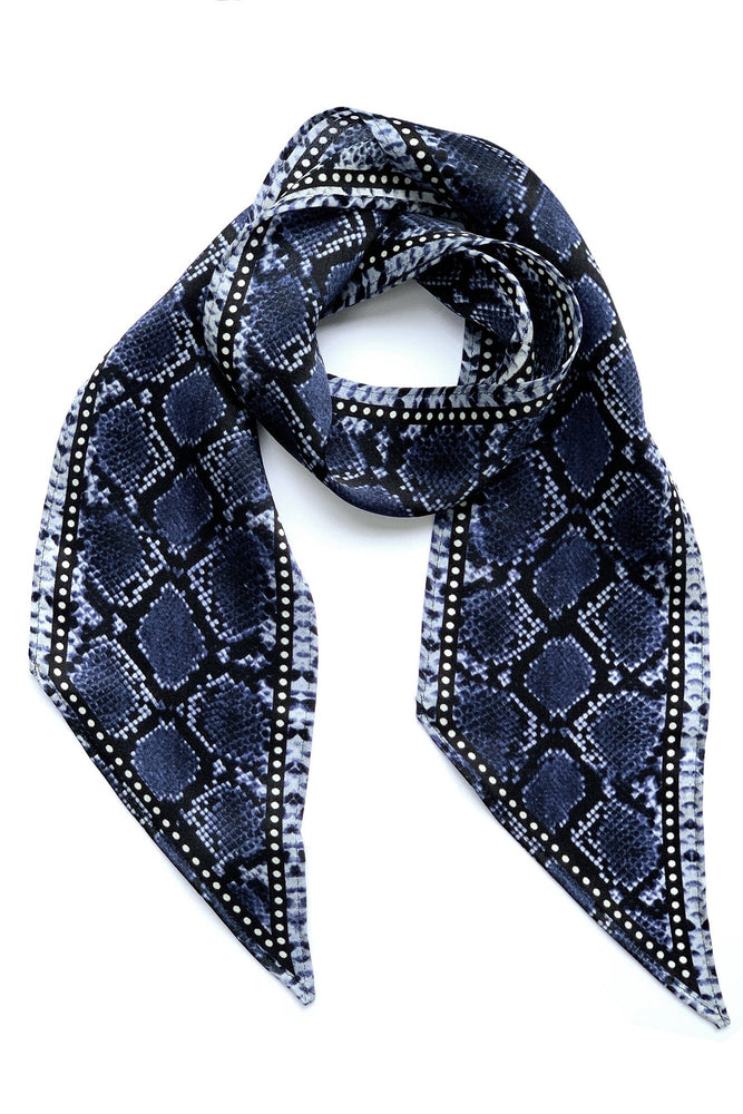 Snakeskin Silk Neck Scarf Blue