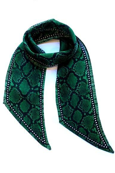 Snakeskin Silk Neck Scarf Green