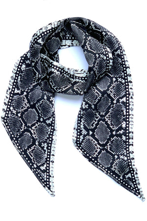 Load image into Gallery viewer, Snakeskin Silk Neck Scarf Grey - Ingmarson at The Bias Cut