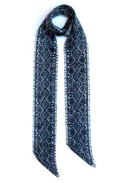 Snakeskin Silk Neck Scarf Long Grey