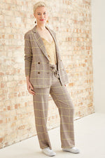 Special Check High-Waist Wide Leg Trousers