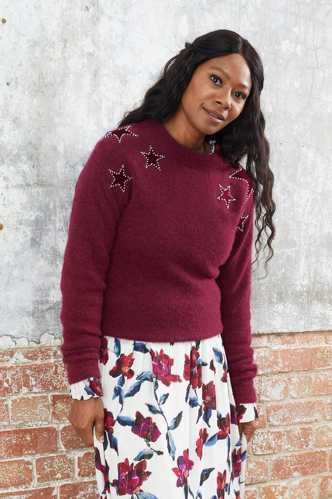 Star Pullover in Parrot Purple
