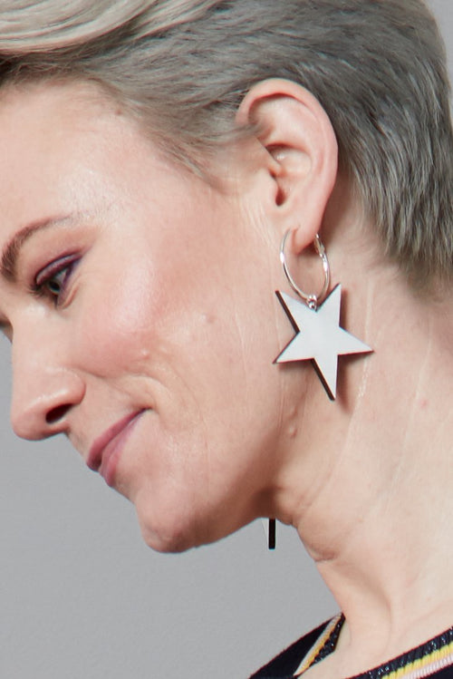 Stevie Star Hoops (available in Black, Silver & Gold) 🌈♥️⭐ - Dark Horse Ornament