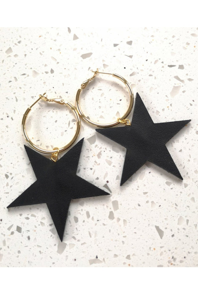 Stevie Star Hoops (available in Black, Silver & Gold) - Dark Horse Ornament at The Bias Cut