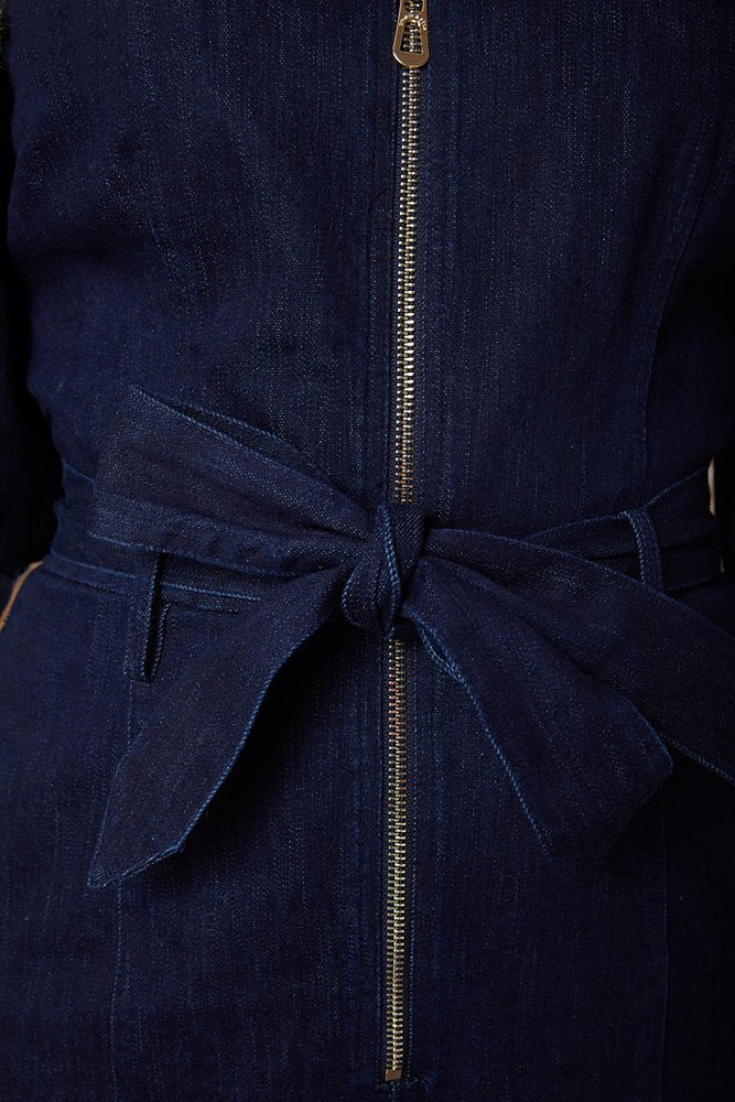 Scotch & Soda Zip Front Dark Denim Jumpsuit with Matching Belt at The Bias Cut