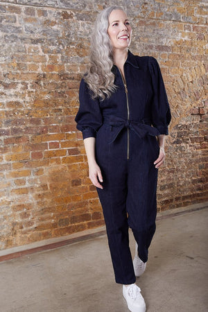 Scotch & Soda Zip Front Dark Denim Jumpsuit in Stretch Denim at The Bias Cut