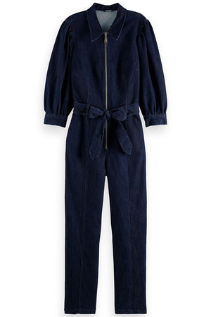 Scotch & Soda Zip Front Dark Denim Jumpsuit with Waist Tie at The Bias Cut