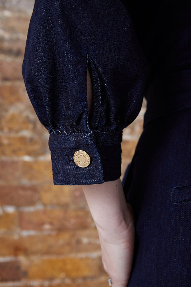 Scotch & Soda Zip Front Dark Denim Jumpsuit with Gold Metal Buttons and Fastenings at The Bias Cut