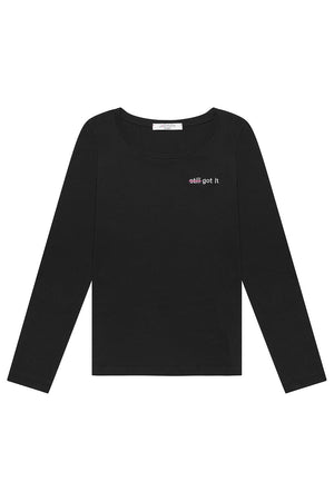 Load image into Gallery viewer, Strike Out Ageism Charity Black Long-Sleeved T-Shirt (3 slogan options) - Jacynth London at The Bias Cut