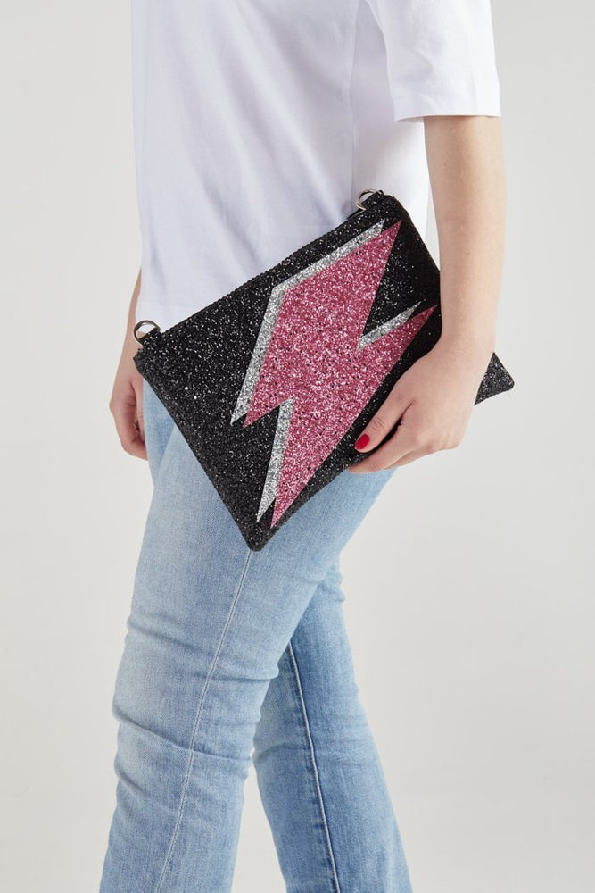 Strike Out Ageism Charity Glitter Reversible Clutch / Crossbody Bag - I KNOW THE QUEEN at The Bias Cut