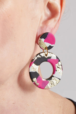 Strike Out Ageism Charity Pink, Black & Gold Large Earrings - No Shrinking Violet at The Bias Cut
