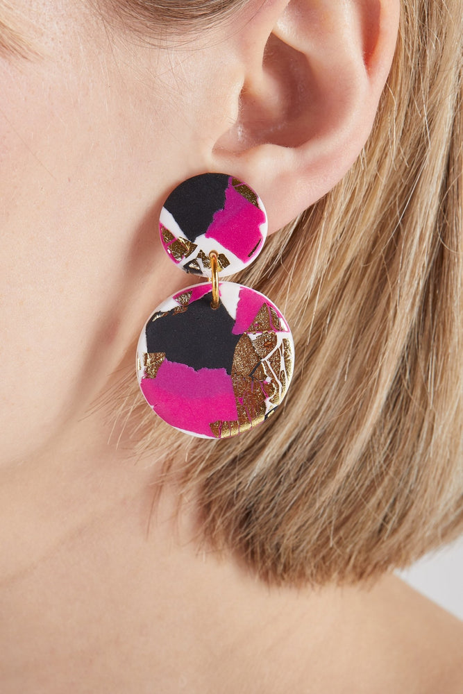 Strike Out Ageism Charity Pink, Black & Gold Medium Earrings