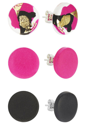 Strike Out Ageism Charity Pink, Black & Gold Set Of 3 Stud Earrings - No Shrinking Violet at The Bias Cut