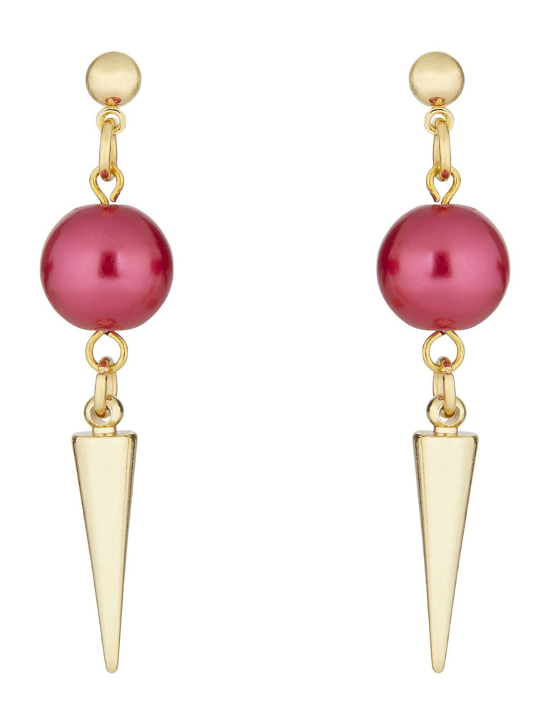 Strike Out Ageism Charity Swarovski Pink Pearl & Gold Plated Spike Earrings - Dark Horse Ornament at The Bias Cut