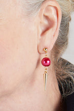 Strike Out Ageism Charity Crystal Pink Pearl & Gold Plated Spike Earrings