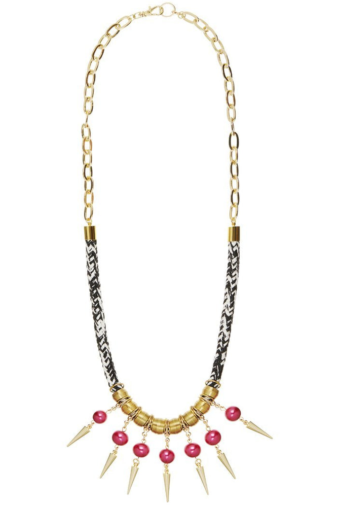 Strike Out Ageism Charity Swarovski Pink Pearl & Gold Plated Spikes Statement Necklace - Dark Horse Ornament at The Bias Cut
