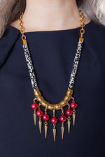 Strike Out Ageism Charity Crystal Pink Pearl & Gold Plated Spikes Statement Necklace