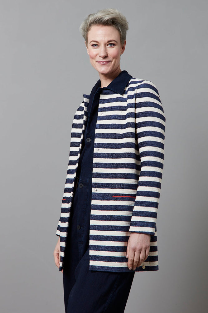 Stripes Dark Blue by Katja Jacket - POM Amsterdam at The Bias Cut