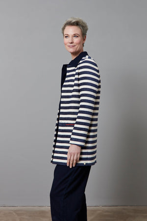 Load image into Gallery viewer, Stripes Dark Blue by Katja Jacket - POM Amsterdam at The Bias Cut