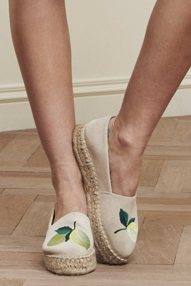 Fabienne Chapot Cream Summer Lime Embroidered Espadrilles at The Bias Cut