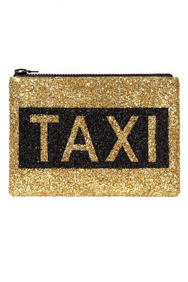 Taxi Glitter Clutch Bag - I KNOW THE QUEEN