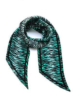 Tiger Silk Neck Scarf Biscay Green