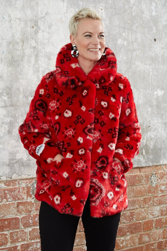 Tilly Red Paisley Faux Fur Coat