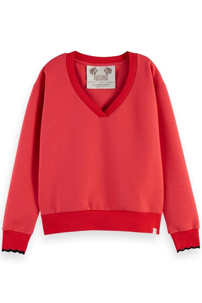 Scotch & Soda Raspberry Red V Neck Sweatshirt at The Bias Cut