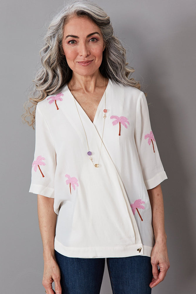 Load image into Gallery viewer, Vera Feather Palm Embroidered Top - Fabienne Chapot at The Bias Cut