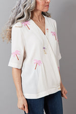Vera Feather Palm Embroidered Top
