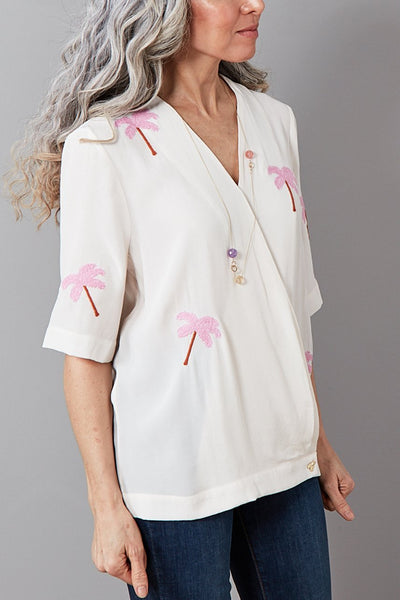 Vera Feather Palm Embroidered Top - Fabienne Chapot