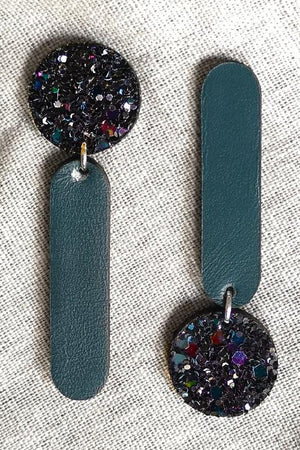 Versus Glitter Petrol Earrings - Dark Horse Ornament at The Bias Cut