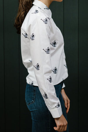 Watering Cans Cotton Poplin Shirt - Size XS - Gibson & Birkbeck at The Bias Cut