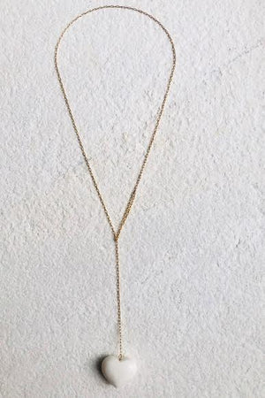 White Coral Heart Loop Necklace - Gem & Tonic at The Bias Cut