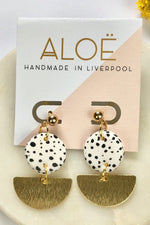 White Dalmatian Dangle Stud - ALOË