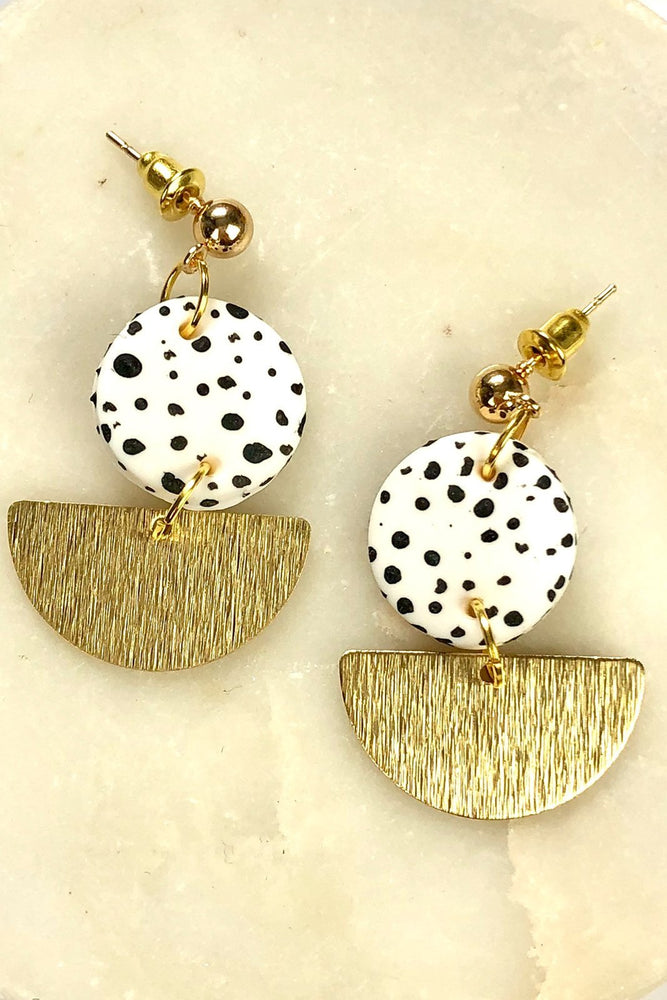 White Dalmatian Dangle Stud