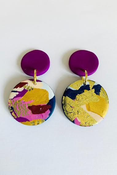 Winter Sunrise Medium Violet Earrings