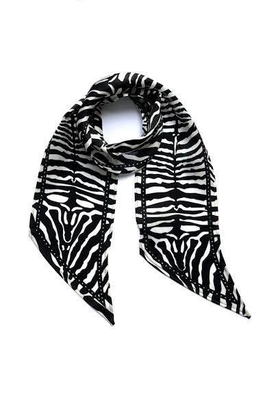 Zebra Silk Neck Scarf Black & White