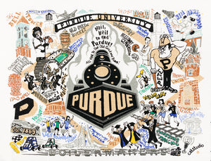 Purdue University Embroidered Pillow
