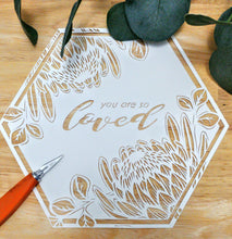 Customised Original Papercut - King Protea Hexagon - Handcut Paper Art