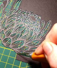Original Papercut with custom text - Protea Circle - Handcut Paper Art