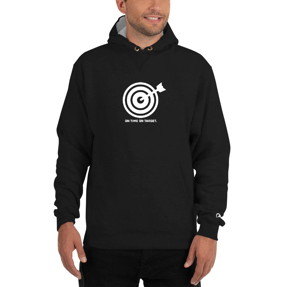 On Time On Target - Champion Hoodie Hoodies SOFREP Store Black S