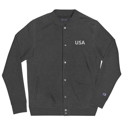 Embroidered Champion Bomber Jacket- USA The Loadout Room Charcoal Heather S