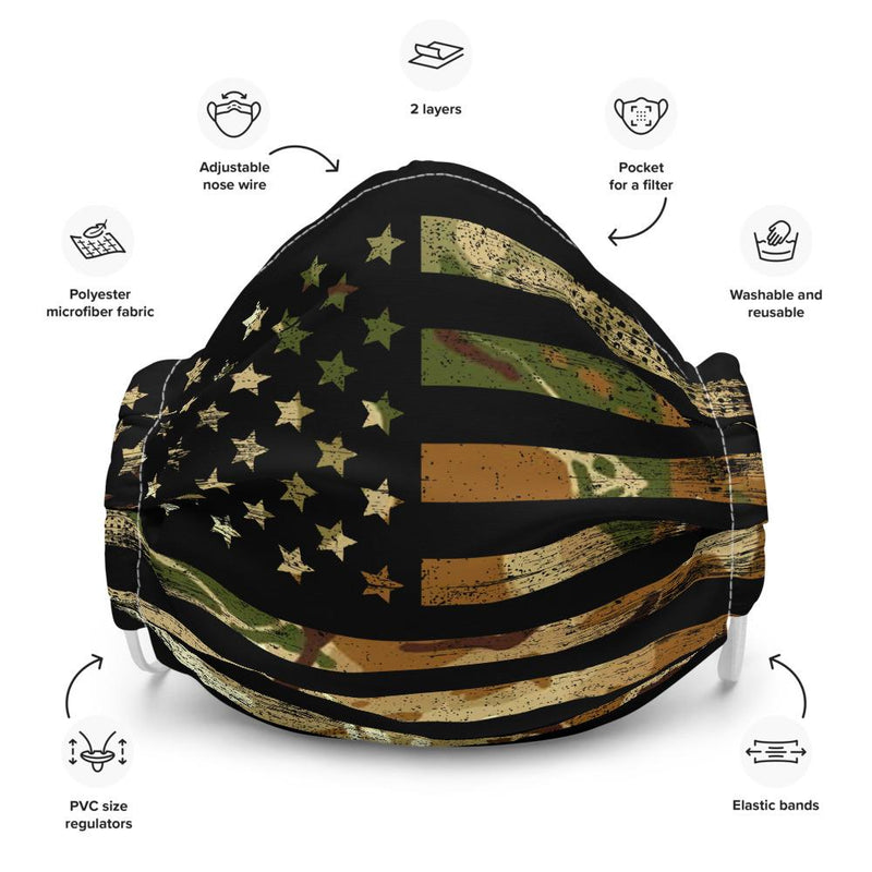 Hunter Camo American Flag Reusable Face mask The Loadout Room