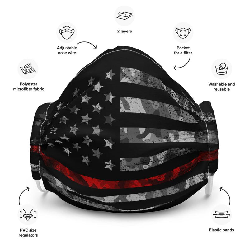 American Flag Thin Red Line Reusable Face mask The Loadout Room