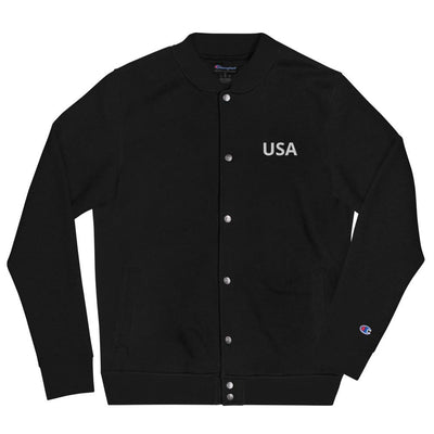 Embroidered Champion Bomber Jacket- USA The Loadout Room Black S