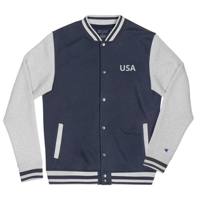 Embroidered Champion Bomber Jacket- USA The Loadout Room Navy/ Oxford Grey S