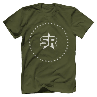 "SR ""Stars"" Tee Apparel Print Brains Premium Men's Tee Military Green XS"